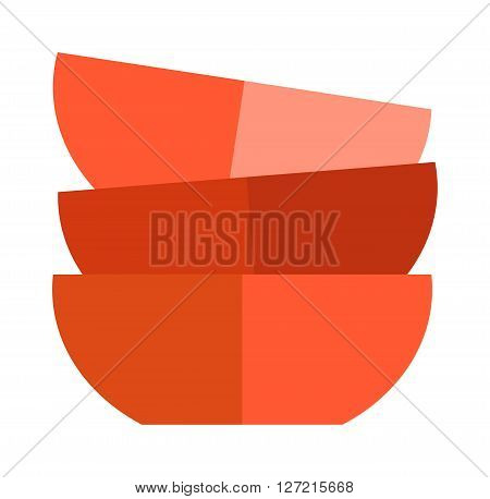 Red soup cup plates. Red single cup breakfast food and ceramic red and flat soup cup. Red cup food beverage kitchen accessory flat vector. Red soup cup plate