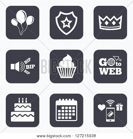 Mobile payments, wifi and calendar icons. Birthday crown party icons. Cake and cupcake signs. Air balloons with rope symbol. Go to web symbol.