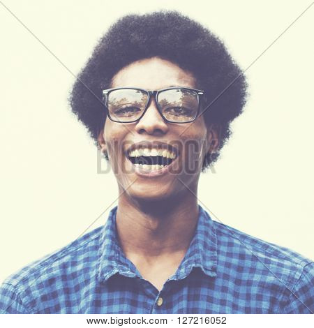 Man Posing Portrait Fashionable Nerd Concept