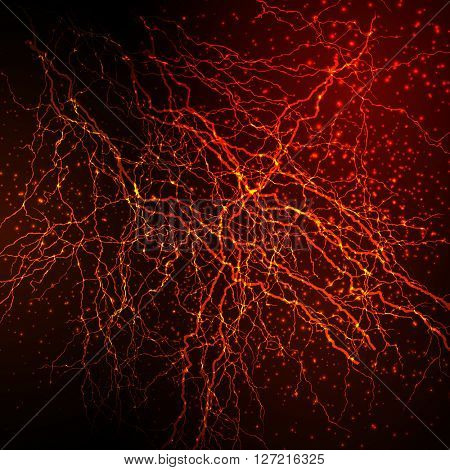 Neurons in the brain, flash strike, thunderbolt easy editable
