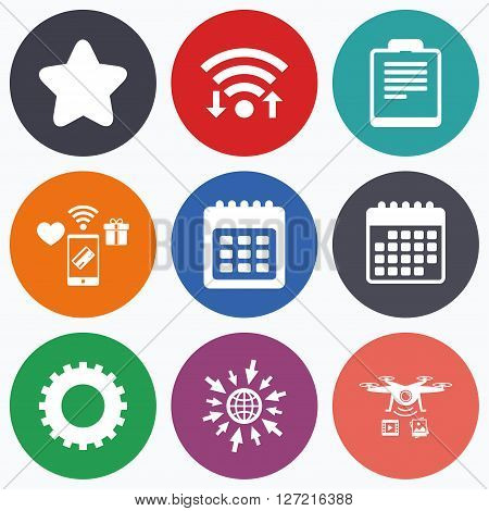 Wifi, mobile payments and drones icons. Calendar and Star favorite icons. Checklist and cogwheel gear sign symbols. Calendar symbol.