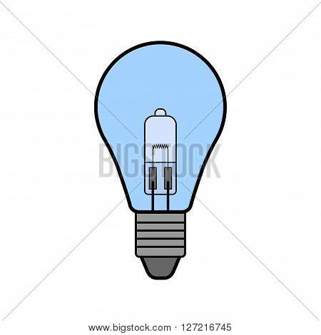 Halogen light bulb. Flat color icon, object. Lighting equipment. Energy saving. Vector illustration