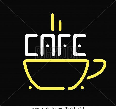 Shop cafe icon coffee cup restaurant sign vector illustration. Cafe icon shop and morning beverage cafe icon. Beverage morning drink cafe icon and breakfast food cafe icon shop business template.