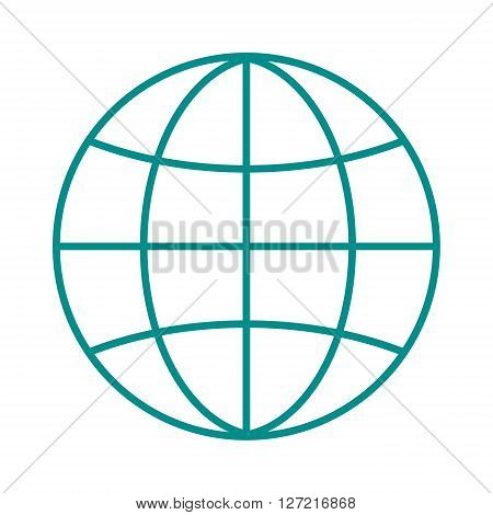 Globe earth icon reflection outline planet map symbol vector illustration. Outline globe icon and globe icon graphic sphere pictogram. Geography element internet globe icon network modern orbit.