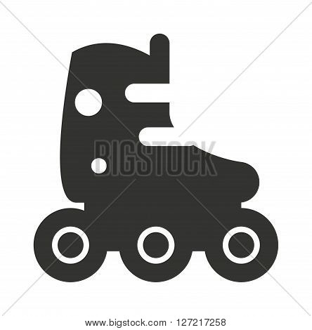 Roller skate icon silhouette shoe wheel boot design vector illustration. Funny sport roller skate icon and roll activity roller skate icon. Roller skate icon graphic retro kid leisure.