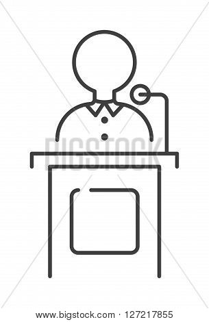 Leading news presenter anchor person header TV communication broadcasting vector illustration. News presenter journalist media, leading customer news presenter. Leading marketing generation.