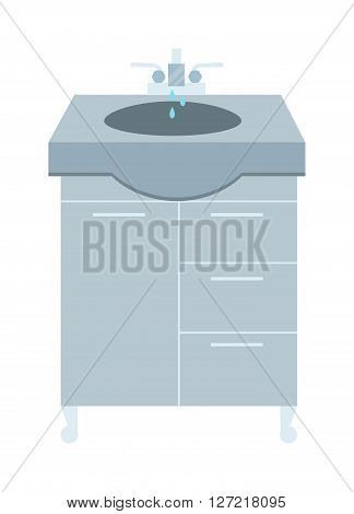 Flat washbasin interior and home modern washbasin. Design hygiene water ceramic washbasin bath equipment. Washbasin and faucet with water drop at home bathroom interior flat vector illustration.