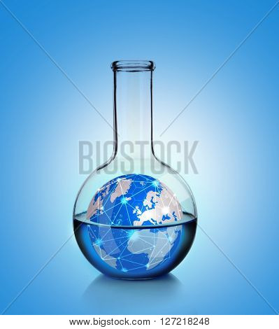 Flask with blue fluid and small Earth planet inside on blue gradient background