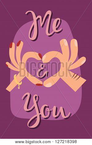 Woman hands making a heart shape sign cartoon flat romantic card vector illustration. Finger heart hands sign and romance human heart hands showing sign. Heart hands sign love concept.