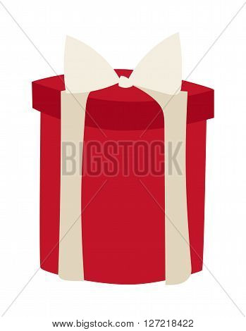 Gft box with ribbon vector. Gift box on white background. Gift box decoration. Gift box surprise. Gift box package design. Gift box vector birthday decoration. Vector cartoon gift box with ribbon isolated
