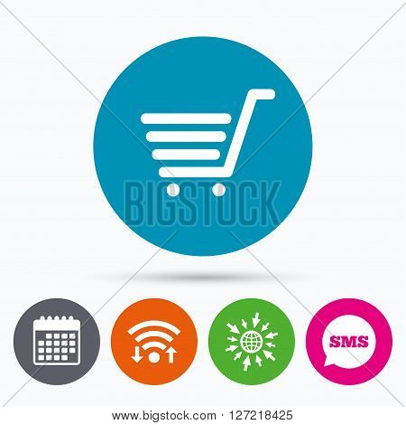 Wifi, Sms and calendar icons. Shopping Cart sign icon. Online buying button. Go to web globe.