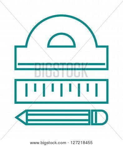 Ruler flat line art icon vector illustration, ruler icon. School icon symbol ruler education equipment. Some yellow ruler tool. Vector ruler isolated icon. School ruler thin line symbol