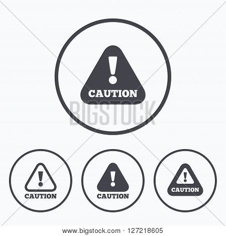 Attention caution icons. Hazard warning symbols. Exclamation sign. Icons in circles.