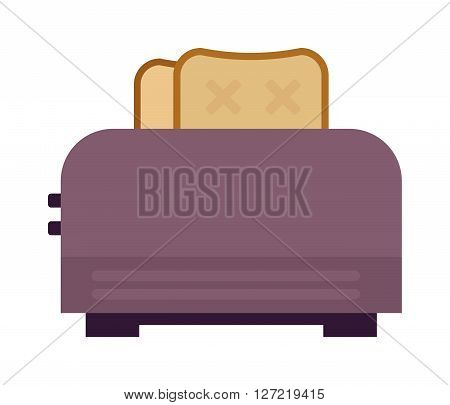 Toast popping toaster bread breakfast food kitchen utensil modern flat vector illustration. Kitchen toaster breakfast preparing and kitchenware toaster. Domestic household toaster machine.