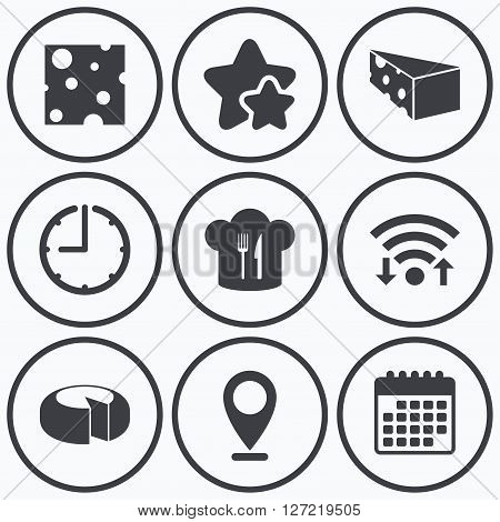 Clock, wifi and stars icons. Cheese icons. Round cheese wheel sign. Sliced food with chief hat symbols. Calendar symbol.