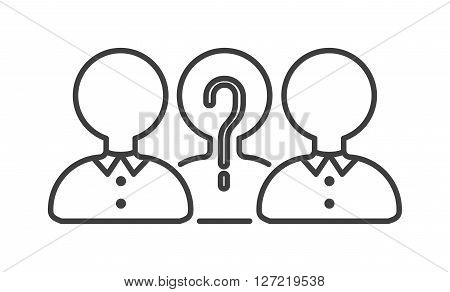 Teamwork business people teambuilding icon group communication concept symbol outline vector. Teambuilding icon group communication and teambuilding icon cooperation success. Teambuilding strategy