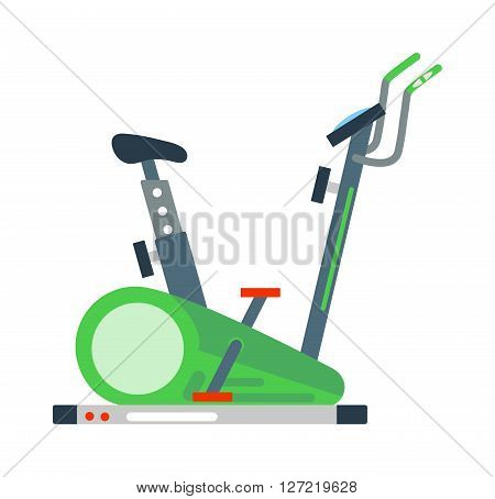 Stationary training exercise sport bike healthy lifestyle equipment and exercise bike sport. Exercise bike training workout machine. Stationary exercise bike sport gym machine health activity vector.
