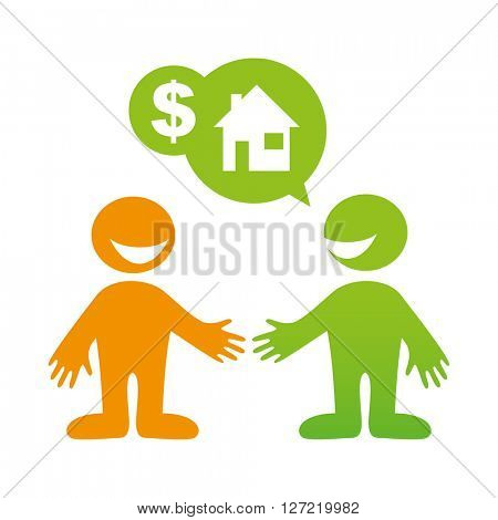 People dialog icon.  Sale of Property. Deal.Rent.