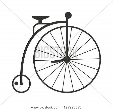 Retro style vintage bike nineteenth century bicycle old wheel transport isolated vector illustration. Vintage bike transport and antique vintage bike silhouette. Silhouette vintage bike pedal travel.