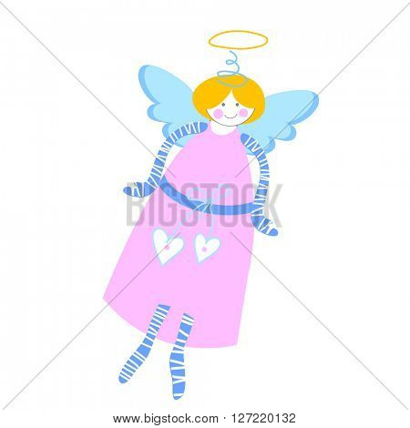 Angel - illustration. Love Cupid. Template cards for lovers. Congratulations on the Valentine's Day. Picture of flying angel.