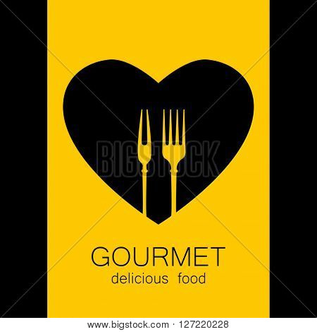 Gourmet logo. Delicious food. Lovely food logo template. Love Food logo. Template logo for restaurant, cafe, fast food, store food.