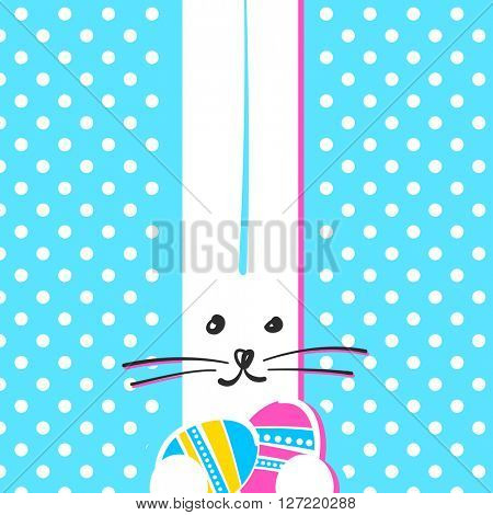 Greeting card with with white Easter funny bunny. Easter rabbit with easter eggs.