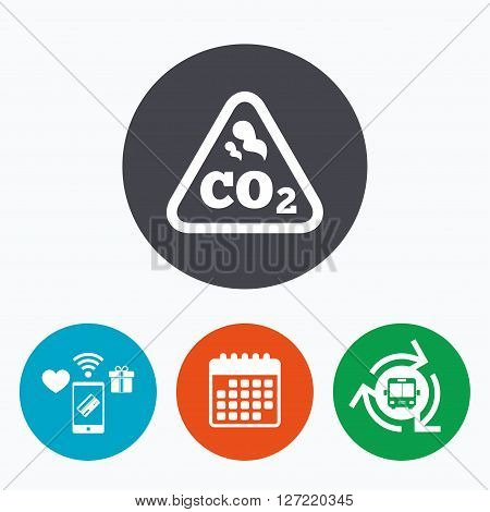 CO2 carbon dioxide formula sign icon. Chemistry symbol. Mobile payments, calendar and wifi icons. Bus shuttle.