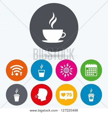 Wifi, like counter and calendar icons. Coffee cup icon. Hot drinks glasses symbols. Take away or take-out tea beverage signs. Human talk, go to web.