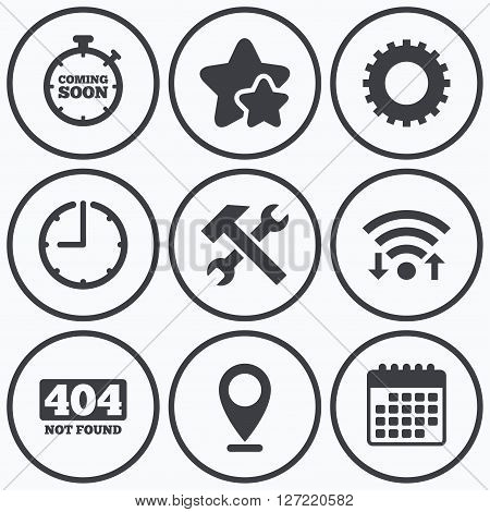 Clock, wifi and stars icons. Coming soon icon. Repair service tool and gear symbols. Hammer with wrench signs. 404 Not found. Calendar symbol.