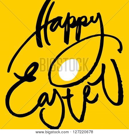 Happy easter poster. Easter lettering with egg. Easter illustration. Handwriting calligraphy inscription.