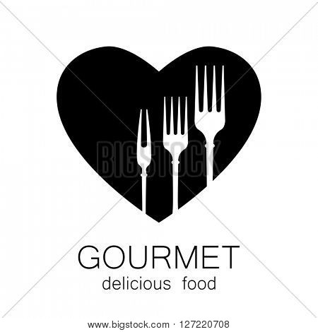 Gourmet logo. Delicious food. Lovely food logo template. Love Food logo. Template logo for restaurant, cafe, fast food, store food. Logo tempalate.