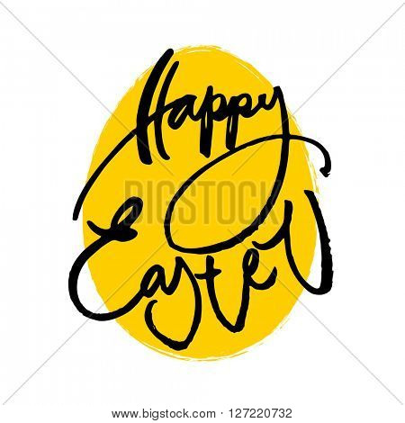 Happy easter. Template Easter greeting card. Easter egg. Easter lettering. Easter background. Easter illustration. Handwriting inscription.