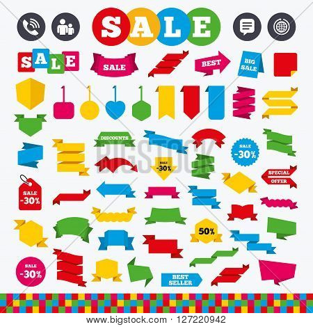 Banners, web stickers and labels. Group of people and share icons. Speech bubble and round the world arrow symbols. Communication signs. Price tags set.