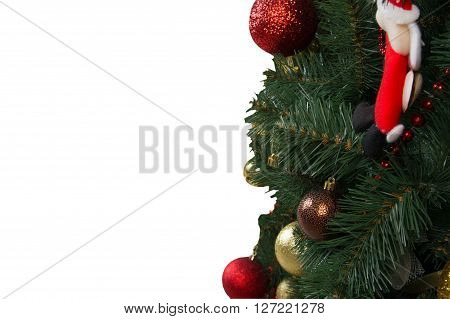 Decorated Christmas Tree On A White Background, Isolated