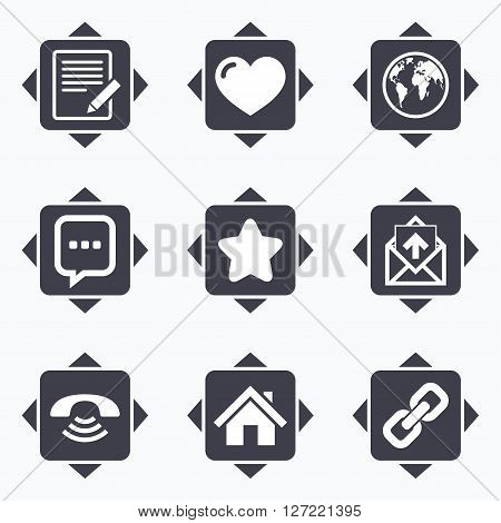 Icons with direction arrows. Mail, contact icons. Favorite, like and internet signs. E-mail, chat message and phone call symbols. Square buttons.