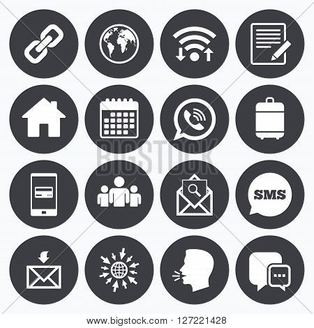 Wifi, calendar and mobile payments. Communication icons. Contact, mail signs. E-mail, call phone and group symbols. Sms speech bubble, go to web symbols.