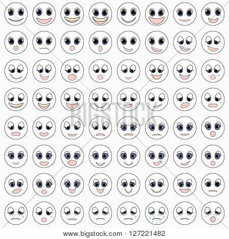 white set of emoticons sad kind happy vector illustration
