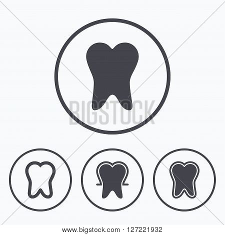 Tooth enamel protection icons. Dental care signs. Healthy teeth symbols. Icons in circles.