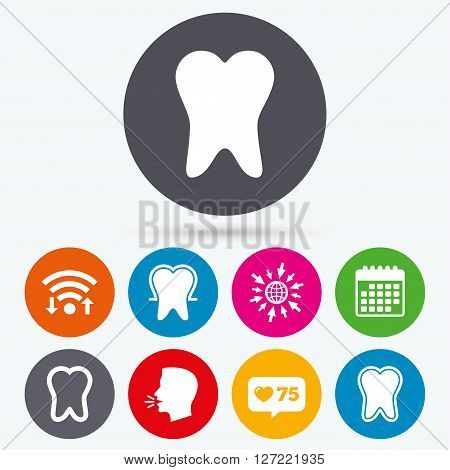 Wifi, like counter and calendar icons. Tooth enamel protection icons. Dental care signs. Healthy teeth symbols. Human talk, go to web.