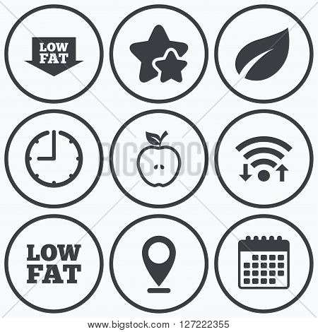 Clock, wifi and stars icons. Low fat arrow icons. Diets and vegetarian food signs. Apple with leaf symbol. Calendar symbol.
