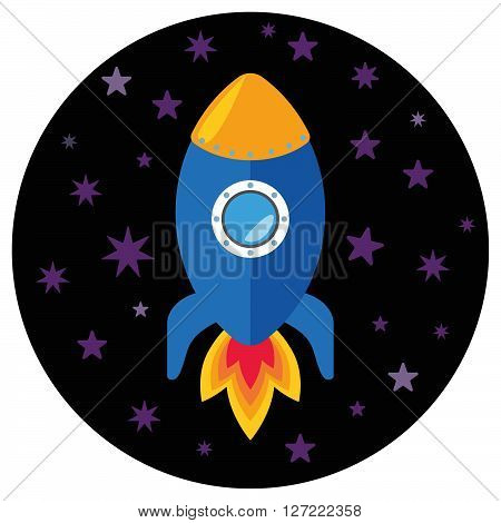 Cartoon rocket in the space, vector illustration, rocket icon