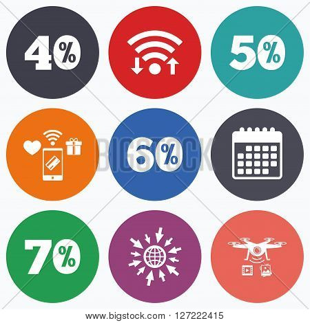 Wifi, mobile payments and drones icons. Sale discount icons. Special offer price signs. 40, 50, 60 and 70 percent off reduction symbols. Calendar symbol.