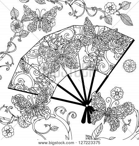 Oriental fan decorated by  Uncolored  butterfly for adult coloring book in famous zenart style. Hand-drawn, retro, doodle, vector, uncoloured. The best for design, textiles, posters, coloring book