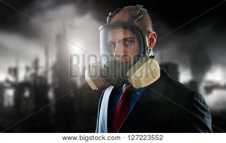 Businessman in a polluted post atomic world