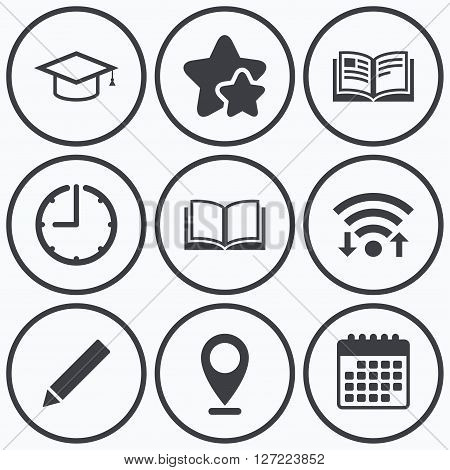 Clock, wifi and stars icons. Pencil and open book icons. Graduation cap symbol. Higher education learn signs. Calendar symbol.