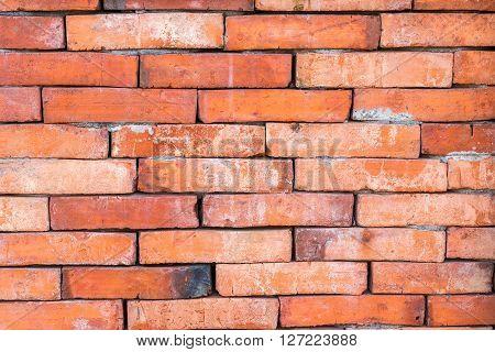 The red bricks. Wall of bricks. Texture of brick wall. The background of bricks. The old bricks. Old masonry. An old wall.
