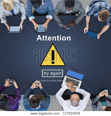Attention Notice Warning Scrutiny Error Concept