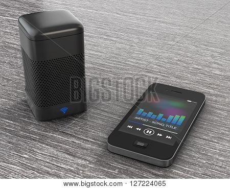 Wireless Speakers connected to Mobile Phone on the wooden table. 3d Rendering