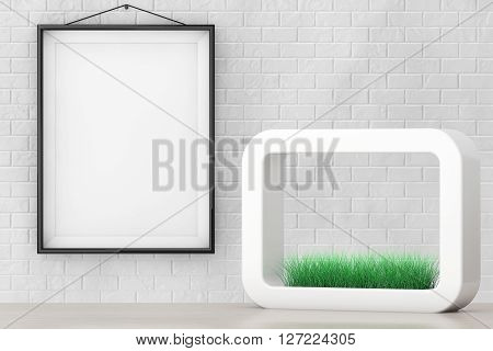 Grass in White Ceramics Planter in front of Brick Wall with Blank Frame extreme closeup. 3d Rendering