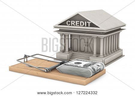 Credit Risk Concept. Mouse trap with money against Bank Building on a white background. 3d Rendering